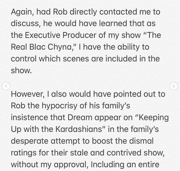 "CelebNReality247.com reports that Blac Chyna has responded to reports that Rob Kardashian will not allow their daughter, Dream Kardashian, to appear on her reality show. In typical Blac Chyna tradition she responded in a very public way so all will know how petty Rob Kardashian is about the situation. The two co-parents are once again hitting walls with each other. Blac Chyna, feels that Rob Kardashian is a ""Hypocrite"" since he is NOT blocking Dream from being on KUWTK. Rob's lawyer, legal pit bull Marty Singer made it clear he shares 50/50 joint custody for their ""their daughter, 2-year-old Dream"" who ""CANNOT under any circumstances, appear on her show, without Rob's consent."" Chyna posted her response to social media: She calls Rob being difficult 'unfortunate' since he didn't speak to her directly, as opposed to contacting her through his attorney. Blac Chyan also stated that as an executive producer of her show, she would never subject their daughter to long hours or intense drama. She alludes to Rob being a hypocrite as Dream appears on his family's show calling it 'stale' and 'contrived'. See her response below, via HNHH. Chyna posted this series of photos with her daughter:"