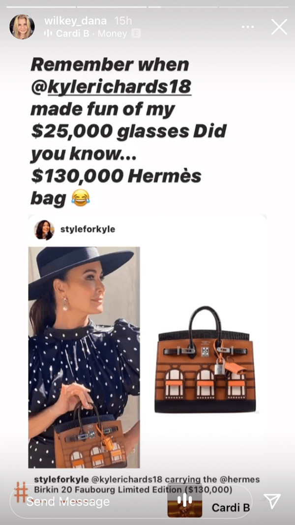 Dana Wilkey Criticizes Kyle Richards For Showing Off $130K Birkin Bag